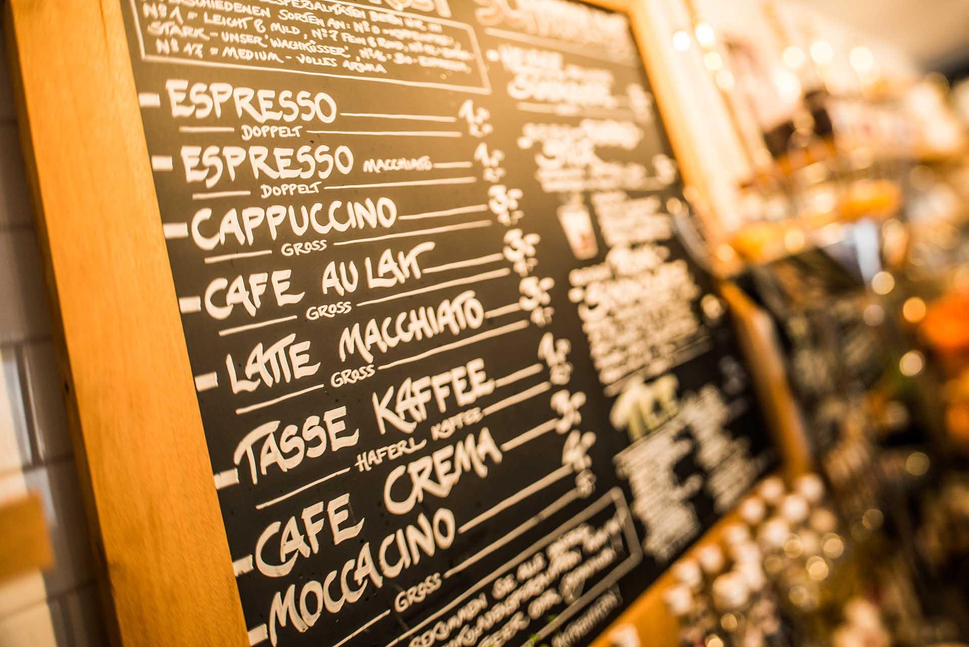 Kaffeeangebot in unserem Café